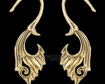 12G Pair Brass Lily Swan Spirals Organic Hand Carved Body Piercing Jewelry Earrings 12 guage