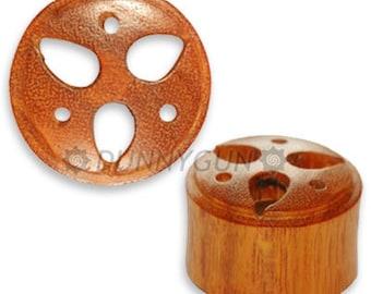 "5/8"" Pair Japanese Trinity Crest Wood Plugs Organic Hand Carved Body Piercing Jewelry gauge"