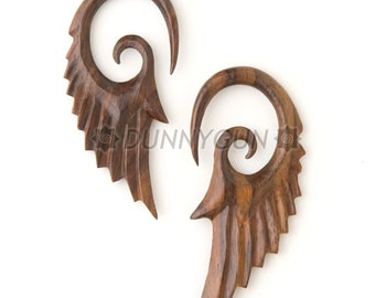 4G Pair Tiger Rosewood Seraphim Wing Gauged Plugs Body Piercing Jewelry Earrings 4 gauge