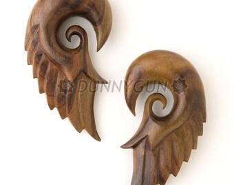 """7/8"""" Pair Tiger Rosewood Seraphim Wing Gauged Plugs Body Piercing Jewelry Earrings gauge"""