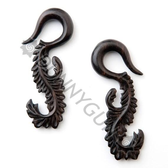 0G Black Dogwood Peacock Swans Body Piercing Jewelry Earrings 0 gauge