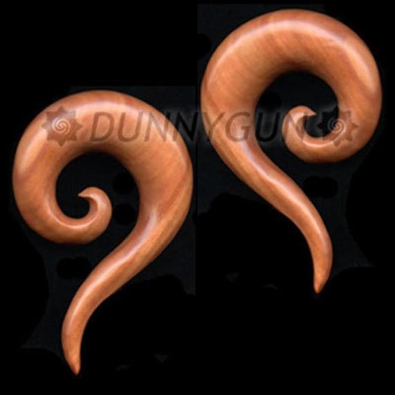 """1"""" Pair Red Saba Wood Tail Spirals Gauged Plugs Body Piercing Jewelry Earrings gauge"""
