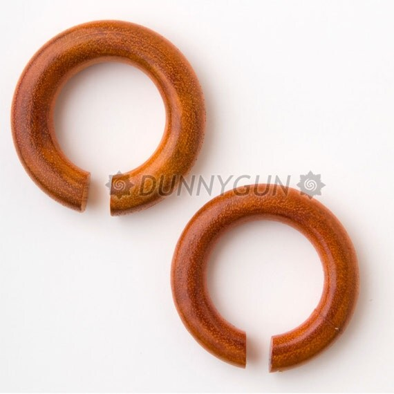 Pair 0G Mahogany Chang Wood Hoops Gauged Plugs Body Piercing Jewelry Earrings 0 gauge