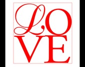 Red Letter Love Typography Print 8x10