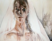 Young Woman Bride in Light Original Watercolor Painting