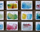 12 Thank You Cards- Watercolor Assortment Pack