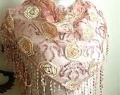 Sheer Cotton Transparent Victorian Wedding Pink Lace Scarf-Applique Gold Geometric Roses-Shimmering-Dentelle-Wedding Bridal Bridesmaids