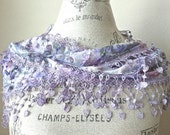 Floral Cotton Romantic Lace Scarf-Shimmering Lavender Pink color Woman Clothing Accessories-Valentines Day-Ready to ship from US