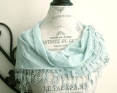 Aqua Blue-Turquoise Long Large Cotton Lacy Lace Triangle Scarf-Trendy Fashion-Women Clothing Accessories