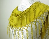 Ship from U.S.A Mustard Yellow Best Quality Cotton Scarf with Dainty Dangling Lace- French Lace-Gift for her-Mother Sister-under 15 25
