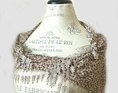 Recycled Cotton Lace Scarf -Sophisticated Elegance-Camel Pattern-Pastel Soft Beige Brown