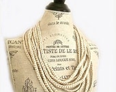 ON SALE Crocheted Ivory Pearl Scarf Necklace-Jersey Girl-Sport Elegance-Birthday
