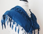 ON SALE Ship from US Fashion Embellished Lace Scarf-March Trends-Bright Dark Blue-Spring Leaves Lace