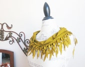 Ship from US-Organic Cotton Pashmina Lace Scarf-Mustard Yellow-Spring Summer Leaves