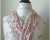 Ship from US-Pink Printed Organic Cotton Lace Scarf-Belgium French Lace-Shimmering silvery Pink