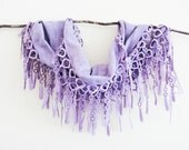 Lilac Purple Lace Scarf Woman Accessories Summer Beach