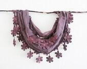 Purple Brown Elegant Sheer Cotton Lace Scarf Headband bandana Belt pareo Cowl Necklace Lariat Versatile