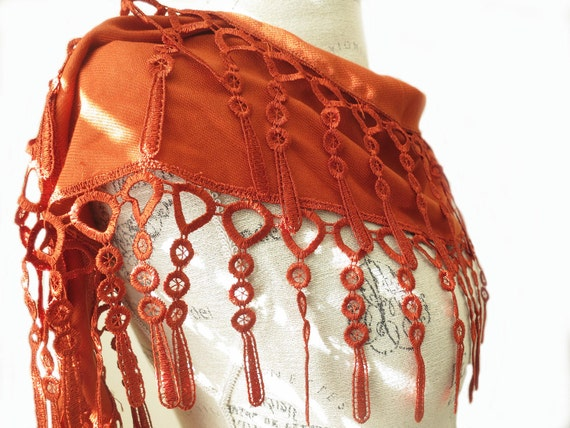 Ship from U.S.A Rustic Brown Orange Eco Friendly Organic Cotton Lace Scarf-Spring Fashion-Best Quality of Cotton--Cottage Boho Chic