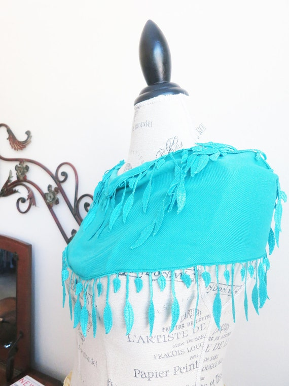 Ship from US-Turquoise Blue Chunky Leaves Lace Scarf-Spring Fashion-Summer Beach Weddings-Pashmina-Cotton-Robin Egg Blue