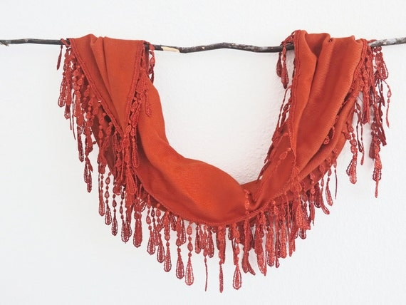 Orange Rustic Fashion Lace Scarf-Spring Bright Colors-Chunky Lariat-Cotton Pashmina