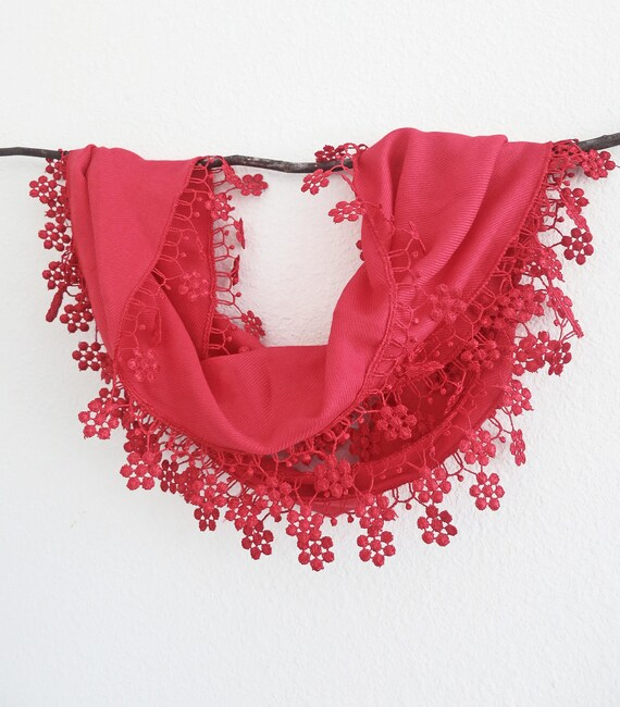 Red Lacy Lace Scarf Brial Wedding Bridesmaids Accessories Radiant