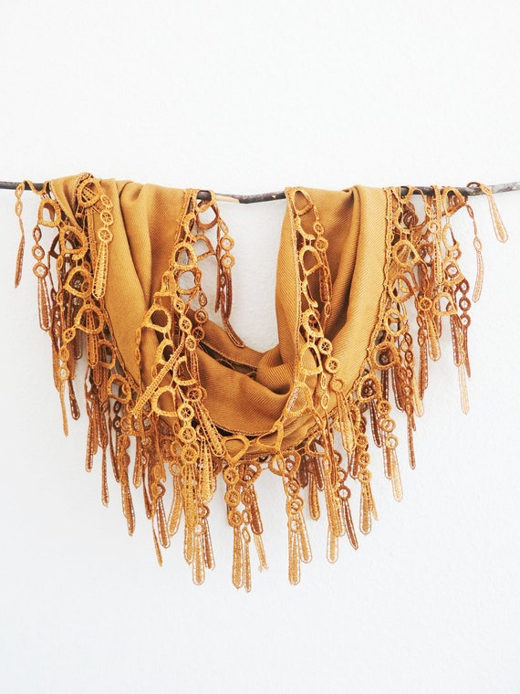 Caramel Golden Rustic Lace Cotton Pashmina Fashion Scarf