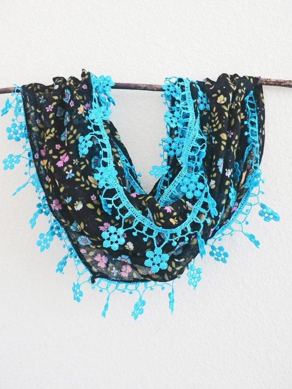 Summer Sale Charcoal Lace Scarf Bleu de France