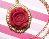 Handmade Polymer Clay Cab and Gold Chain // Victorian Inspired Large RED ROSE