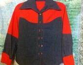 orange and denim handmade vintage western style ladies button up