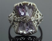 Antique Ring - 14k White Gold Filigree Ring with Amethyst