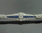 Antique Platinum Diamond and Sapphire Brooch