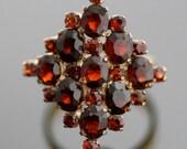 Vintage Ring - Cluster Ring - Vintage 1940s 14K Yellow Gold and Garnet Cluster Ring