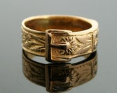 Antique Buckle Ring - 18k Yellow Gold