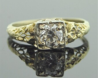1920s Engagement Ring - Yellow and White Gold Antique Diamond Ring