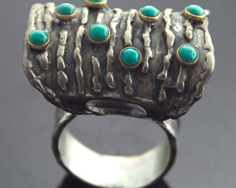Vintage Ring - Vintage Turquoise Ring - Sterling Silver, 14k, Turquoise