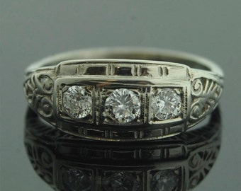 Antique Wedding Band - Antique 14k White Gold Three-Stone Diamond Wedding Band