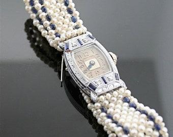 Antique Watch 1920s - Diamond, Sapphire, Pearl Watch