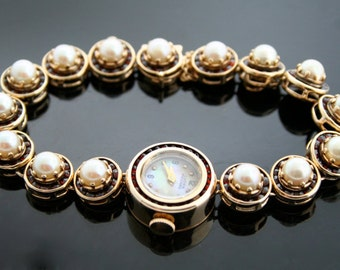 Lucien Piccard Watch - Vintage Watch With Garnets and Pearls