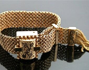Antique bracelet - Victorian Slide Bracelet - Gold Antique Enameled Victorian Bracelet