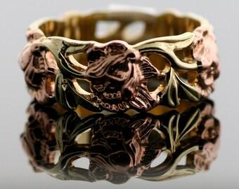 Vintage 14k Rose and Green Gold Wedding Ring