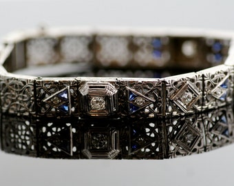 Antique Bracelet - Antique 14k White Gold Filigree Bracelet with Diamonds and Synthetic Blue Sapphires