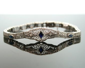 Antique Bracelet - Antique Edwardian 14K White Gold Diamond and Synthetic Sapphire Filigree Bracelet