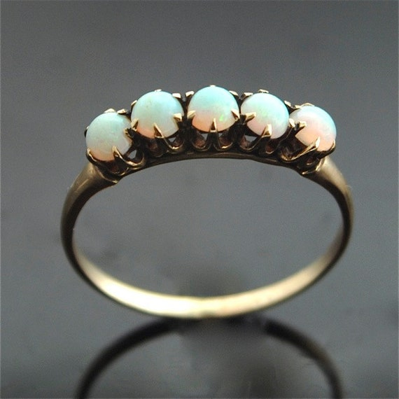 antique opal ring 1920s gold with opals
