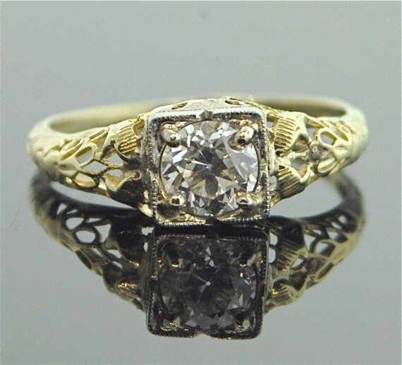 1920s Engagement Ring Yellow and White Gold by TheCopperCanary