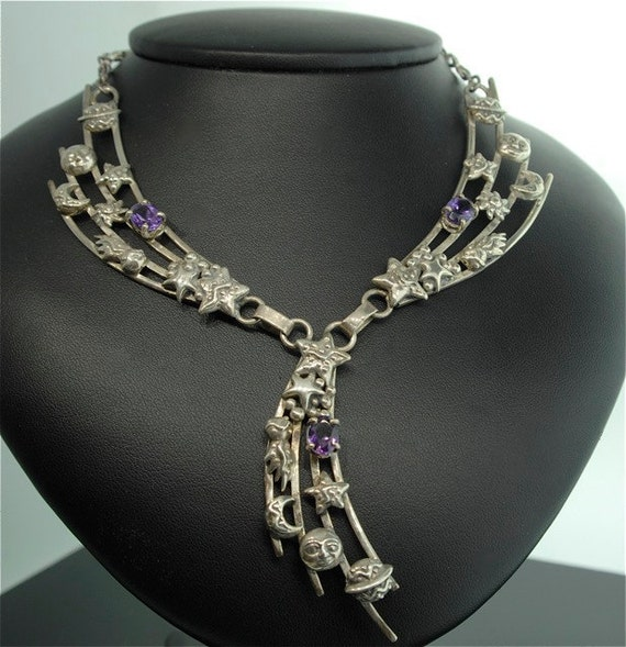 Vintage Sterling Silver Amethyst Astrological Necklace