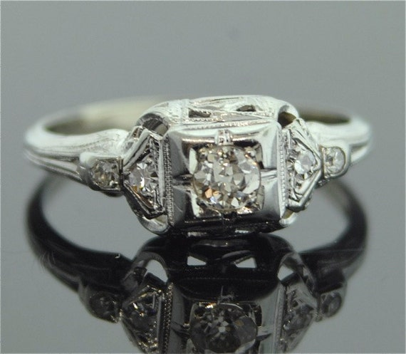 1920s engagement ring 18k white gold and diamond ring - 1920s Wedding Rings
