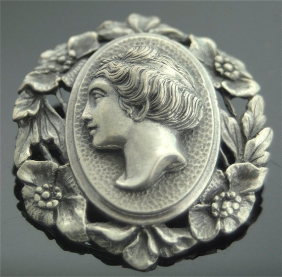 Antique Pin - Victorian Cameo - Handmade Victorian Sterling Silver Cameo Brooch
