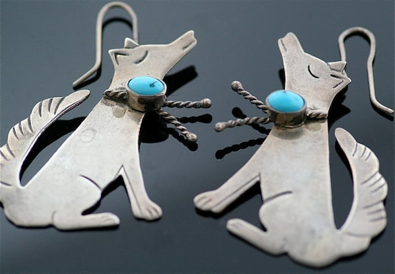 Wolf Earrings - Sterling Silver Earrings with Turquoise
