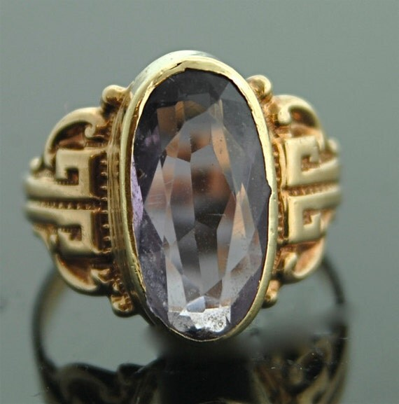 Antique Amethyst Ring - 14k Rose Gold and Amethyst Ring