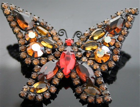 Vintage Butterfly Brooch - Vintage Costume Jewelry Signed by Weiss